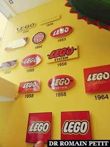 Frise chronologique du logo Lego à la boutique Lego de Copenhague.