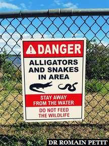 Panneau de mise en garde de la faune au Kennedy Space Center