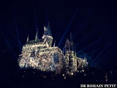 Spectacle nocturne sur le château de Poudlard (Harry Potter) à Universal's Islands of Adventure