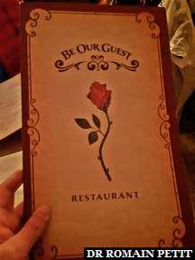 Carte du restaurant Be Our Guest (La Belle et la Bête) à Magic Kingdom Park